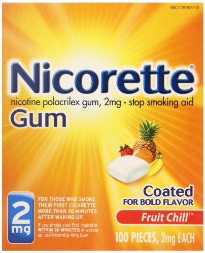 Nicorette Coated Gum, Fruit Chill, 2mg, 100-Count