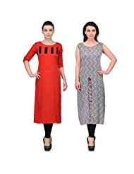 Cenizas Women's Crepe Red Kurtas Pack Of 2 ( 9053RED & 9064WHT)