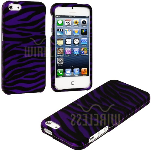 Mylife (Tm) Purple + Black Zebra Stripes Series (2 Piece Snap On) Hardshell Plates Case For The Iphone 5/5S (5G) 5Th Generation Touch Phone (Clip Fitted Front And Back Solid Cover Case + Rubberized Tough Armor Skin + Lifetime Warranty + Sealed Inside Myli
