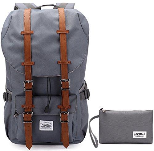 KAUKKO-Mode-Backpack-Herren-Damen-Rucksack-fit-fr-17-Zoll-Laptop-Grau2PCS
