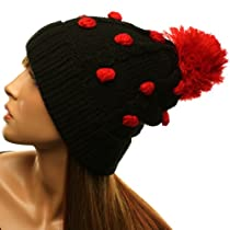 Winter 3D Polka Dots Pom Pom Cuff Cable Knit Beanie Ski Snow Hat Cap Black Red