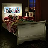 LightHeaded Beds Edgewood Sleigh Twin Bed with back-lit LED Headboard Imagery - Satin White