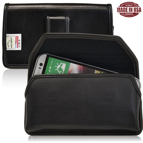 Turtleback Htc One M8 Genuine Leather Holster Case Pouch With Metal Belt Clip With Magnetic Closure - Made In Usa