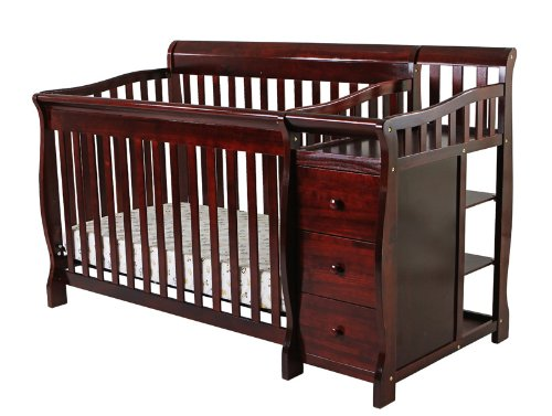Dream On Me 4 in 1 Brody Convertible Crib with Changer, Cherry
