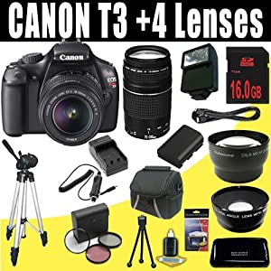 Canon EOS Rebel T3 12.2 MP CMOS Digital SLR Camera with EF-S 18-55mm f/3.5-5.6 IS II Zoom Lens & EF 75-300mm f/4-5.6 III Telephoto Zoom Lens + LPE10 Battery & Charger + Wide Angle Lens + Telephoto Lens + 16GB Deluxe Accessory Kit