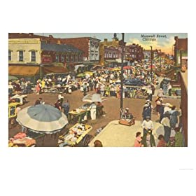 Maxwell Street, Chicago, Illinois Places Giclee Poster Print, 24x18