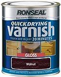 Ronseal QDVGW750 750ml Quick Dry Varnish Coloured Gloss - Walnut