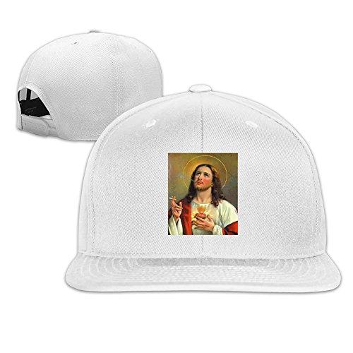 jesus-adora-fumar-um-adult-fashion-snapback-cap-adjustable-white