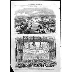 Antique Print of Queen Visit France Grand Trianon Versailles Supper Theatre 1855