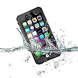 iPhone 6S Waterproof Case, Pandawell™ IP-68 Waterproof Shockproof Dust Proof Snow Proof Full Body Protective Case Cover for Apple iPhone 6S iPhone 6 4.7 (Black)