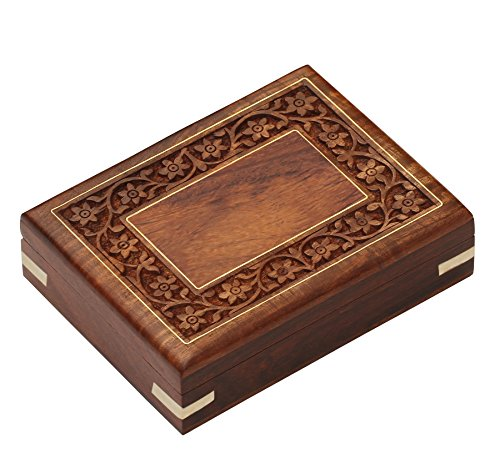 SouvNear Wood Trinket Box - Hand Carved Wooden Decorative Jewelry / Treasure Chest