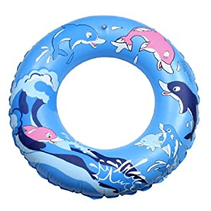 Amazon.com: Cartoon Dolphin Pattern Inflatable Swimming Ring Blue for