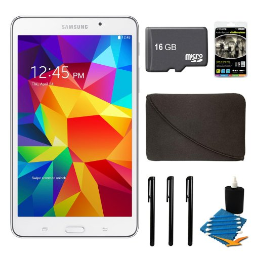 "Samsung Galaxy Tab 4 White 8Gb Sm-T230Nzwaxar 7"" Tablet, 16Gb Card, And Case Bundle - Includes Tablet, 16Gb Micro Sd Memory Card, 7-8"" Sleeve For Tablets, Audio Earbuds With Microphone, 3 Stylus Pens With Pocket Clip, And Cleaning Kit"