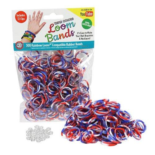 Telar de gomas - 300 Pc Triple banda de caucho relleno paquete de Color (rojo, blanco, azul) - 100% látex libre y Compatible con los telares