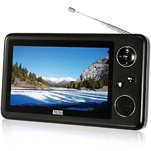 August DTV410 Téléviseur portable 4,3'' (10,9cm) avec écran LCD - TNT et Radio Numérique avec haut-parleur et batterie rechargeable intégré qui offre jusqu'à 5 heures d'autonomie