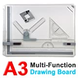 A3 Board Drafting Table Set with Parallel Ruler Bar Clamp Corner Clip