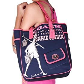 COACH Bonnie Cashin Canvas Tote Bag Handbag Purse Navy Hot Pink AUTHENTIC w/ Tag $298 MSRP