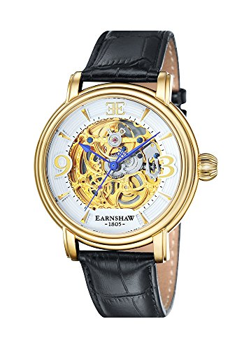 Thomas Earnshaw ES-8011-04 Mens Longcase Black Croco Leather Strap Watch