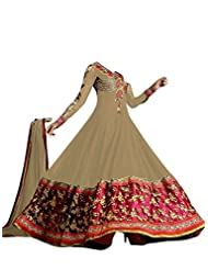 FAUX GEORGETTE ANARKALI SUIT IN BROWN COLOUR - 1301-Brown (SD-1301)