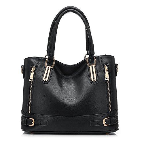 Realer grande nero borse hobo a spalla in pelle per le donne borse e borsette di Crossbody teenager ragazze nero