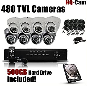 HQ-Cam® 8-Channel H.264 DVR Surveillance Security Package System with 8 x 480 TV Lines Indoor/Outdoor Day Night Vision Cameras For Home Security with Power Suplies and Cables, Pre-Installed 500GB HDD