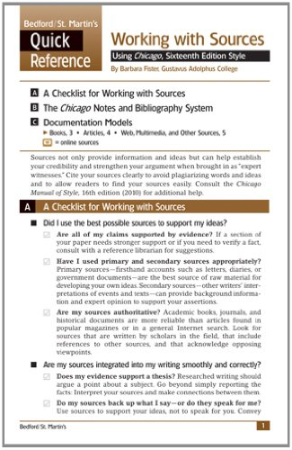 Working with Sources Using Chicago Style: A Bedford/St. Martin's Quick Reference (Quick Reference (Bedford/St. Martins))