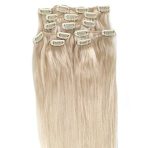 Blonde Hair Extensions,Grammy 18 Inch 100% Long Real Hair Straight Remy Clip in Human Hair Extension for Women Beauty 7pcs 70g ( #60 Platinum Blonde) (Human Hair Extensions Clip On compare prices)