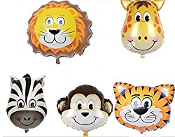 King's Store ,5pc JUNGLE ANIMALS BALLOONS birthday party decorations lion tiger monkey zebra The giraffe from A King's Store