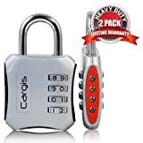 Cargis 2-inch Locks. Personal Combination Padlocks. Multi Purpose and Heavy Duty 2-Pack in Silver/Black and Silver/Red.
