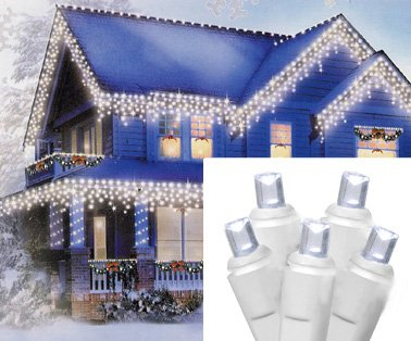 Set Of 70 Cool White Led Wide Angle Icicle Christmas Lights - White Wire