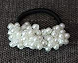 Hair Accessories Pearl Rubber Bands Headwear For Women Elastic Hair Bands (White)