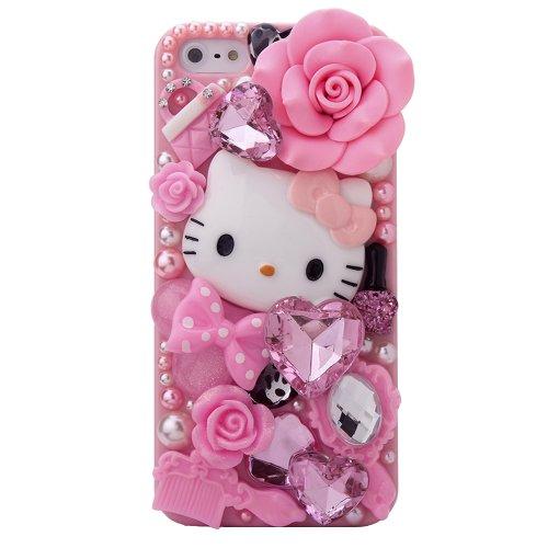 3D Bling Luxury Design Rhinestone Pink Hello Kitty Diamond iPhone 5    Iphone 5 Cases Hello Kitty 3d
