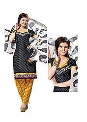 Pandadi Creation Women's Cotton Unstitched Salwar Suit Pics Dress Material with Chifon Dupatta