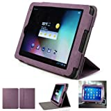 Mulbess - Intenso Tab 814 8 Zoll CleverStrap Case Cover - Leather Case Cover Sleeve with EasyStand Color Purple