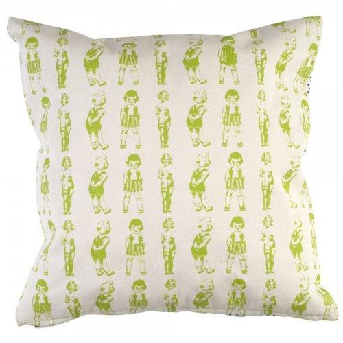 Papierpuppe grüne Kissen