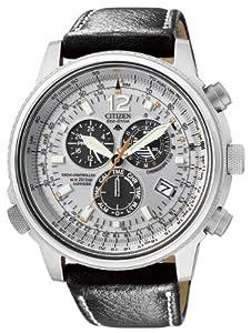 Citizen AS4020-44H - Reloj cronógrafo de cuarzo para hombre, correa de piel de borrego color negro