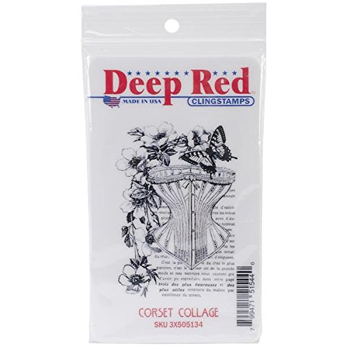 Deep Red Stamps Corset Collage Rubber Stamp - 1
