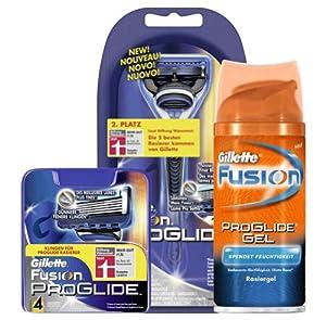 Gillette Fusion ProGlide Vorteilspack (Rasierer, 4 Klingen, Gratis Mini-Rasiergel, Gratis exklusive Gillette-Dose)