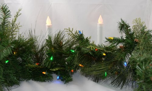 6' Battery Operated Multi Colored Led Pine Garland With Timer