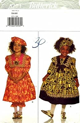 Butterick 3771 Sewing Pattern Girls Dress Pantaloons Headwrap Beret Size 5 - 6X
