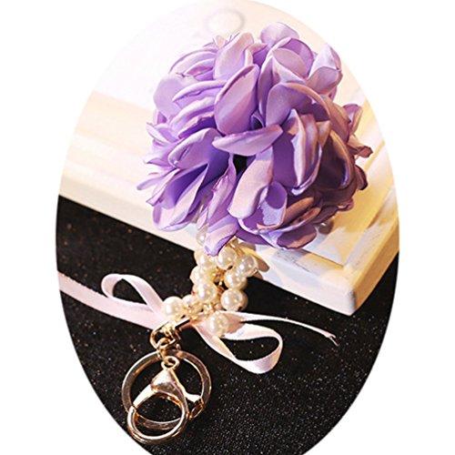 jaylinna perla fiore Ciondoli Portachiavi Strap per auto Telefoni Portafogli bags-4colori, Purple, 8