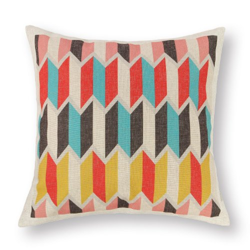 "Euphoria Home Decorative Cushion Covers Pillows Shell Cotton Linen Blend Vintage Colorful Panels Zigzag 18"" X 18"" front-442368"