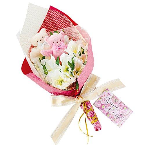 誕生日・記念日・発表会に贈る、くまの花束 「ドリームブーケ(専用スタンド付き)」 アートフラワー 造花 (アネモネ(レッド))