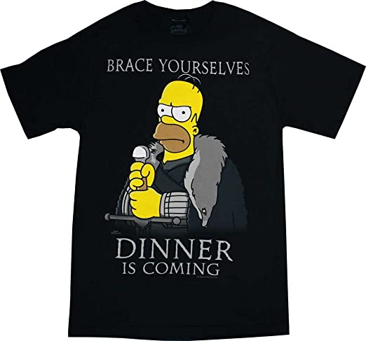 The Simpsons Brace Yourself, Dinner is Coming Men's Black T-Shirt