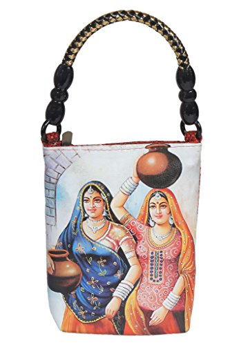 Designer Hand Bag with Digital Print - Ancient Village Women Design Hand Purse for Ladies - Maroon Jute Bag  available at amazon for Rs.370