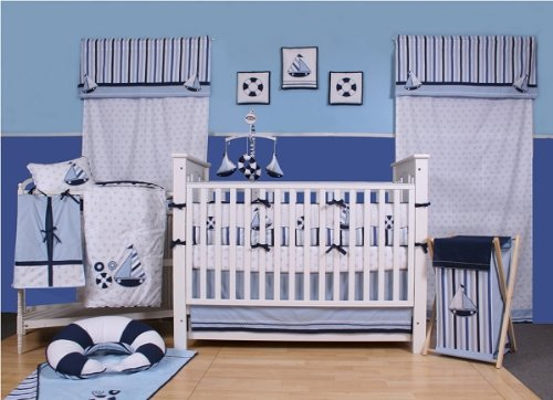 Bacati - Little Sailor Blue and White 6pc Crib Set W/o Bumper width=