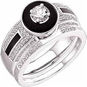 Amazon 14K White Gold Antique Inspired Sphere Black Onyx Diamond Wedding Ring Set Jewelry