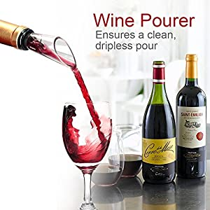Bevan Wine Accessories,Wine Corkscrew,Wine Pourer,Wine Vacuum Stopper,Drop Ring,4 in 1 Wine Accessories Gift Sets,Wine Decanter Spout -Best Gift for Friends and Family