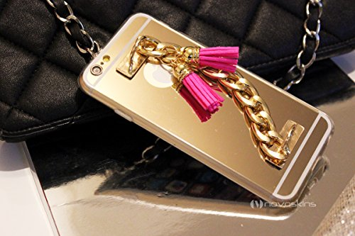 iPhone 6s / 6 Novoskins Gold Oro Luxe Clutch Chain Mirror Specchio Reflector Case with Rosa Fringe Tassels (A/W Designer Collection)