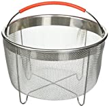 The Original Salbree 6qt Instant Pot Steamer Basket Accessories, Stainless Steel Strainer and Insert fits IP Insta Pot, Instapot 6qt & 8qt, Other Pressure Cookers and Pots, Red Premium Silicone Handle